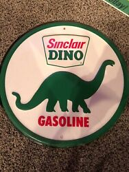 Sinclair Dino Gasoline Round Tin Metal Sign Station Garage Gas And Oil Ad