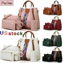 4PCS Set Women Elegant Leather Handbag Hobo Satchel Purse Tote Shoulder Bag $19.75