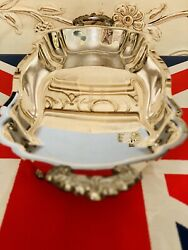 Vintage Epca Bristol Silver By Poole 57 Footed Tray Ornate Handles