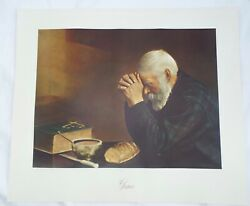 #x27;Grace#x27; Print Old Man Praying Eric Enstrom Meal Table Bread Augsburg Pub. 26x22