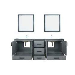 Lexora 80 Dark Grey Double Vanity, Cultured Marble Top, White Square Sink An...
