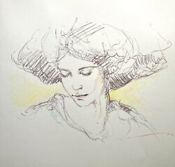 Jose Royo Original Colored Pencil Sketch Drawing Portrait Of Woman Listed Artist