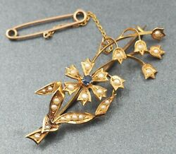 Vintage Sapphire & Seed Pearl Womens Spray Style Flower Brooch 15ct Yellow Gold