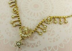 15ct Gold Pearl Necklace Moon And Stars Rope Chain 16 1/2'' Antique Victorian