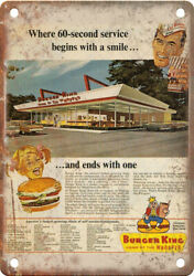 Burger King Wopper Vintage Ad 10 X 7 Reproduction Metal Sign N479