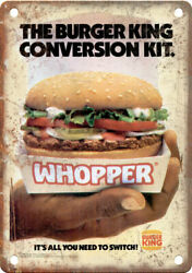 Burger King Wopper Vintage Ad 10 X 7 Reproduction Metal Sign N481