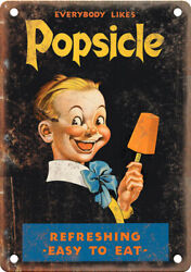 Popsicle Vintage Ice Cream Ad 10 X 7 Reproduction Metal Sign N490