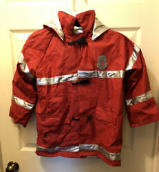 Rain Jacket Boys Size 6x Fire Dept Fire Chief Red Forty Mile Fire Dept. Costume