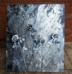 Large Original Abstract Art Painting On Canvas Acrylic Flower Silver Rose 3d Art