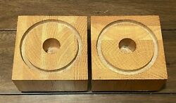 Wooden Candlestick Holders 3 5 8quot; Pair of 2