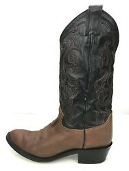 Justin Boots Brown Coffee Leather Cowboy Western Boots 2428 Mens Size 8.5d