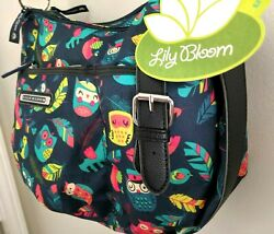 Lily Bloom Flock Together Kathryn Hobo Cross Body Navy with Owls Birds Feathers $39.99
