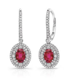 3.10ct Natural Round Diamond Ruby 14k White Gold Wedding Hoops Earring