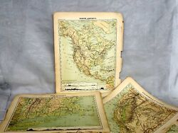Antique Map Lot Of 15 North America Usa Canada Atlas Pages Guyot Geography