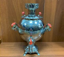 Soviet Russian Hen Or Rooster Shapes Electric Samovar Tea Pot Brass Nickel 80and039s