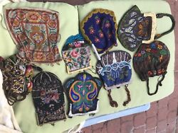 Antique Beaded Bags Lot Of 9 Beaded Bags some Need Repair  Sold As Is