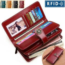 RFID Women Genuine Leather Long Hollow Out Wallet Money Card Holder Clutch Purse $21.99