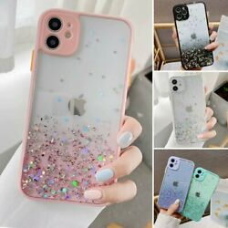 For iPhone 12 Pro Max 11 XR XS MAX 8 7 Case Slim Bling Glitter Clear Girly Cover