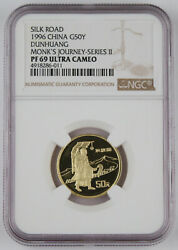 China 1996 50 Yuan 1/3 Oz Gold Proof Coin Ngc Pf69 Uc Silk Road Monkand039s Journey