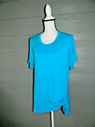 AZULES TURQUOISE SHORT SLEEVE KNOT TWIST FRONT CUTE TUNIC TOP SZ XL $3.99