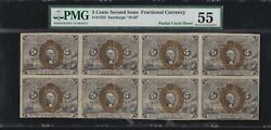 Us Fr 1232 5c Fractional Currency Note 18-63 Partial Uncut Sheet Of 8 Pmg 55 Au