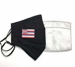 HAWAII State Flag Designer Black Reusable Face Cover Mask With 2 Filters $9.50