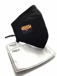 ARIZONA State Flag Designer Black Reusable Face Cover Mask With 2 Filters $9.50