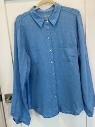 Lilly Pulitzer Sea View Button Down 100% Linen Shirt. GUC $26.20
