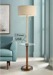 Modern Floor Lamp with Table USB Outlet Brass Wood Living Room Bedroom Reading