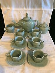 Vintage Asian Celadon Green Elephant Teapot 6 Cups And Saucers Sugar Creamer