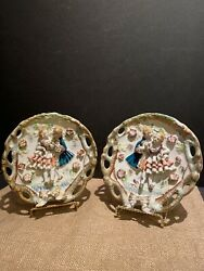 Set Of Two Vintage 3d Bone China Lace Plate Colonial Couple Dancing Collectible