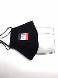 IOWA State Flag Designer Black Reusable Face Cover Mask With 2 Filters $9.50
