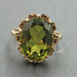 Womens Ring 14k Gold And Green Glass Statement Cocktail Vintage Jewellery