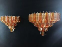 Pair Of Vintage Murano Wall Sconce Andndash 63 Clear And Amber Quadriedri