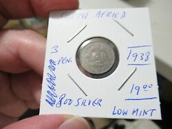 1938 South Africa Silver Coin, 3 Pennies, Low Mint, Threepence, More Auctions