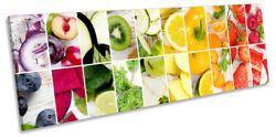 Fruit And Veg Collage Kitchen Picture Panorama Canvas Wall Art Print