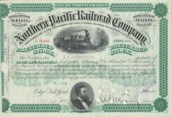 Northern Pacific Railroad Company Issued Stock Certificate Signed E H Harriman