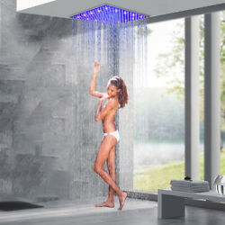 16and039and039 Brushed Nickel Led Rain Shower Head Square Overhead Top Sprayer Bath Shower