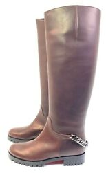 Christian Louboutin Croche Cate 20 Brown Calf Leather Chain Riding Boots Eur 36