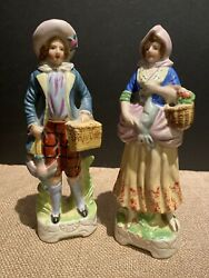 Vintage Occupied Japan Victorian Man And Woman Couple Porcelain Figurines