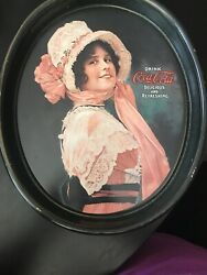 Vintage Oval Coca-cola Tip Serving Tray Betty Delicious And Refreshing