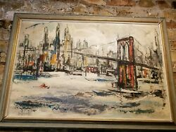 Painting By George Schwacha Oil. Manhattan Skyline Wood Frame Signed