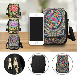 Latest Lady Cell Phone Bag Retro Embroider Purse Messenger Crossbody Bag Wallet $11.97