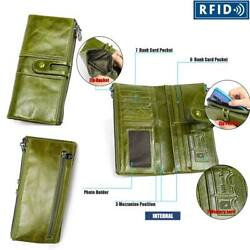RFID Women#x27;s Genuine Leather Wallet Money Card Holder Magnetic Snap Closure $20.89