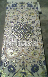 White Marble Dining Table Marquetry Lapis Pauashell Inlay Mosaic Art Decor H3235
