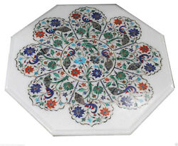 24 White Marble Mosaic Dining Coffee Table Top Peacock Parrot Hallway Decor Art