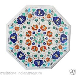 18 Marble Coffee Center Table Top Marquetry Mosaic Inlay Gems Furniture Decor