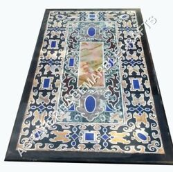 4and039x2and039 Black Marble Dining Room Table Top Lapis Mosaic Inlay Fruniture Decor E494