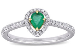 Christmas 0.90ct Natural Diamond 14k Solid White Gold Emerald Cocktail Ring