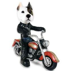Pit Bull On A Motorcycle Stone Resin Figurine Statue